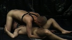 A couple of pierced cocksuckers get off in their leather dungeon