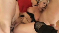 Short Haired Babe Takes on Three Cocks