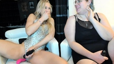 Blonde lesbians toying each others pussy