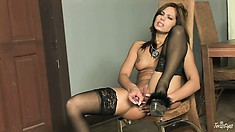 Brunette With Hot, Cushy Ass In Her Black Stocking Goes For The Pleasure Pot