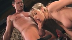 Seductive blonde with big boobs Brooke Banner sucks and fucks a cock in the barn