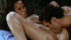 Sexy Asian goddess gets her precious pussy pounded outdoors at night