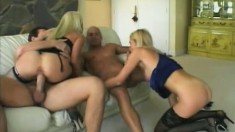 Two blonde sluts getting their holes drilled rough by a pair of studs