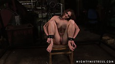 Now she's tied to the chair with legs spread and gets a dildo in her mouth
