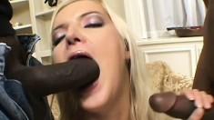 Two insatiable black fuckers enjoy banging a slutty blonde babe