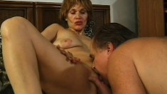 Dirty cougar gets eaten out and bends over for a rough dicking