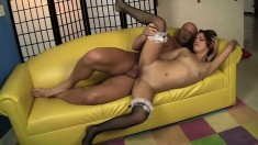 Lovely Latina maid Gigi Rivera jumps on top of a long dick and rides it with passion