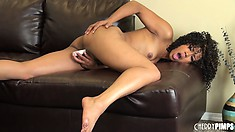 Clean-limbed Misty Stone lies where she wants and does what she wants