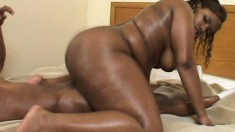 Curvaceous caramel babe makes the most of her time with a black stud