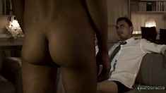 Insatiable bartender is eager to fuck a handsome piece of ass