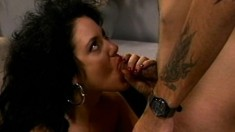 Sensational brunette milf with big tits has a guy fulfilling her needs