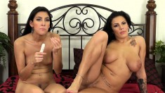 Lylith and Kimberly provide to each other intense pleasure on the bed
