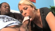 Bodacious blonde cougar fulfills her wild fantasy with two black guys