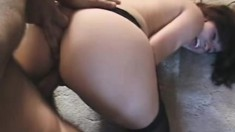 Slutty Latina in black stockings gets her holes banged deep and rough