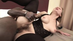 Sexy blonde milf is in heaven when a black pole drills her hairy twat