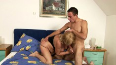Busty mature woman can't get enough of this hunk's thick prick