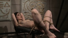 Insatiable young brunette babe begs to get tied up and dominated