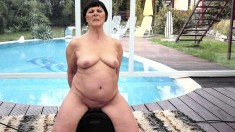 Old chubby lady eats a younger cock and rides that throbbing bone