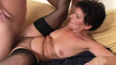 Hot mature lady in stockings loves to suck dick and to get banged deep