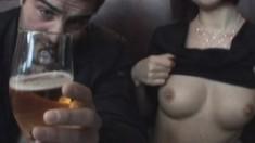 Elegant brunette amateur fingers her peach and delivers a hot blowjob