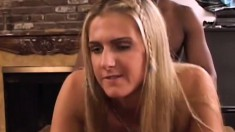 Blonde young Ashley Long engages in interracial fucking action