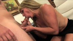 Hot MILF boss gets licked and dicked on her desk in the office