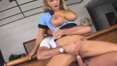 Alluring blonde with big hooters Trina Michaels enjoys rough anal sex