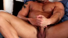 Muscled hunk loves to get his cock sucked first thing in the morning