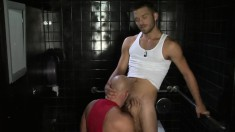 Bald fucker gets on his knees and sucks a dick before licking some ass