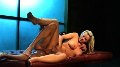 Busty blonde with a phenomenal ass fucks a big cock with sheer desire