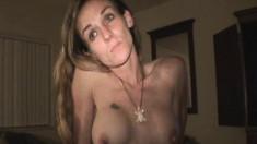 Slim blonde hooker with big boobs puts her oral abilities on display