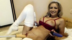 Blonde princess fingering pussy in bath