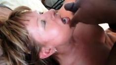 Double amateur blowjob with titjob and facial cumshot