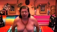 Crazy Grandmother In Webcam