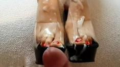 Huge Cumshot Foot Fetish Feet Heels Comment Pls
