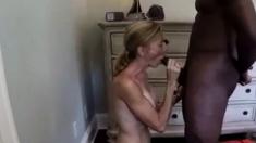 Slim white wife sucks & fucks BBC