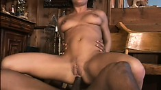 Stunning MILF gets her ass and cunt simultaneously fucked by BBCs