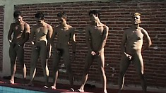 After all the butt slamming, they line up on the edge of the pool and jerk off