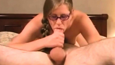 Shameless girl in glasses gives blowjob - cum on face