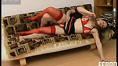 Brunette tart in bright red stockings gets shafted on the couch