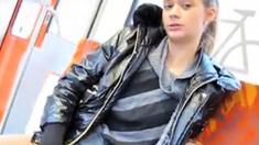 Anna public flashing masturbating at train