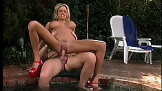 Busty blond Brianna Banks uses her body to satisfy her boyfriend