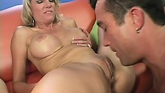 Coed and a foxy MILF gets shagged during a hardcore threesome