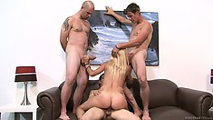 Taking three cocks at once is no big deal for this naughty MILF