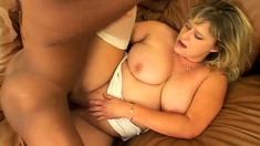 Busty blonde BBW slut gives amazing blowjob