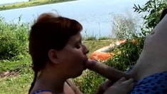 Amateur Redhead Wife Gives A Hot Blowjob In The Outdoors