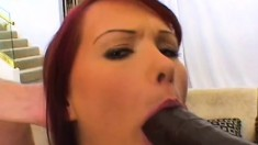 Tender ginger-head babe in nice outfit gets thick member in her caboose
