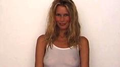 Claudia Schiffer Zeigt Nippel In Einem Durchsichtigen Hemd