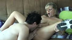 Luscious blonde milf has some fun with her daughter's sexy boyfriend