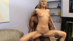 Teasing white girl seduces a big black stud into pounding her pussy